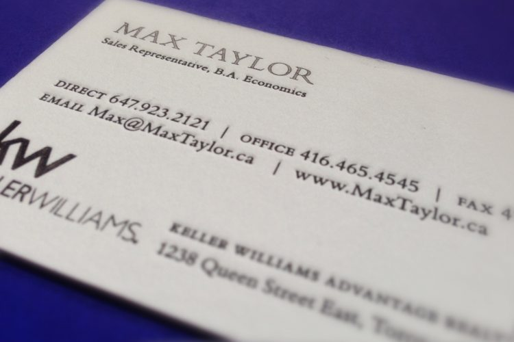 Max Taylor business cards
